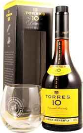 Бренди «Torres 10 Gran Reserva» в подарочной упаковке со стаканом