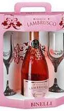 Вино игристое жемчужное розовое полусладкое  «Lambrusco Binelli Premium» в подарочной упаковке с 2-мя бокалами