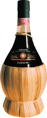 Вино красное сухое  «Fassini Chianti, 0.75 л» в соломенной корзинке
