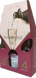 Вино игристое белое полусладкое «Mastro Binelli Malvasia» в подарочной упаковке с 2-мя стаканами