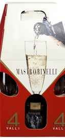 Вино игристое белое брют «Mastro Binelli Brut» в подарочной упаковке с 2-мя бокалами