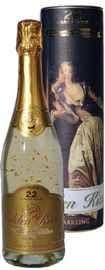 Вино игристое белое брют «Golden Kiss Brut» с включением блесток из золота, в тубе