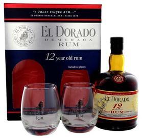 Ром «El Dorado 12 years old» в подарочной упаковке с 2-мя стаканами