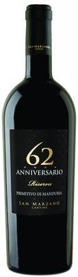 Вино красное полусухое «Anniversario 62 Riserva Primitivo di Manduria» 2014 г.