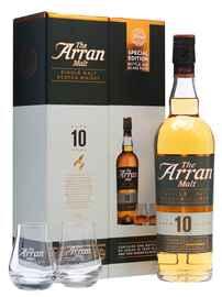 Виски шотландский «ARRAN 10 years» в подарочной упаковке с 2-мя стаканами