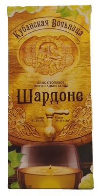 Вино столовое белое полусладкое «Кубанская Вольница Шардоне (Тетра Пак)»