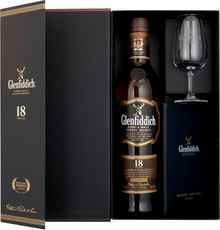 Виски шотландский «Glenfiddich 18 Years Old» в подарочной упаковке со стаканом