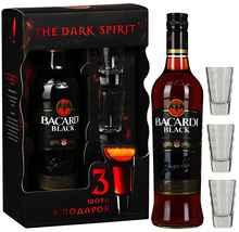 Ром «Bacardi Carta Negra» набор в подарочной упаковке с 3 шотами