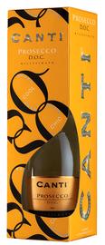 Вино игристое белое сухое «Canti Prosecco» 2017 г., в подарочной упаковке