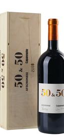 Вино красное сухое  «50 & 50» 2014 г., в деревянной подарочной упаковке