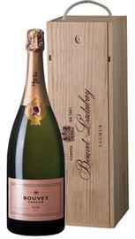 Вино игристое розовое брют «Bouvet Tresor Brut Rose» в деревянной подарочной упаковке