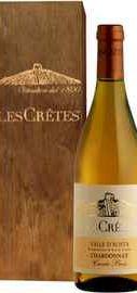 Вино белое сухое «Les Cretes Chardonnay Cuvee Bois» 2014 г., в подарочной деревянной упаковке