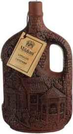"""Вино красное сухое «Милдиани Саперави» в керамической бутылке """"Монастырь"""""""