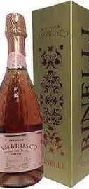 Вино игристое розовое полусладкое «Lambrusco Binelli Premium Rosato» в подарочной упаковке