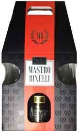 Вино игристое белое брют «Mastro Binelli Premium Brut в подарочной упаковке с 2-мя бокалами»