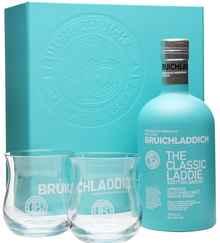 Виски шотландский «Bruichladdich Scottish Barley» в подарочной упаковке с 2-мя стаканами