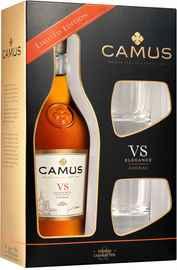 Коньяк французский «Camus VS Elegance» в подарочной упаковке с 2-мя стаканами