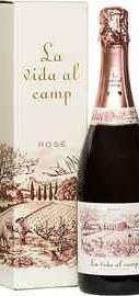 Игристое розовое сухое брют «La Vida Al Camp Cava Brut Rose» 2015 г. в подарочной упаковке