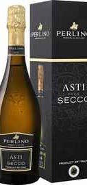 Вино игристое белое сухое «Asti Secco Valsa Nuova Perlino» в подарочной упаковке