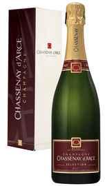 Вино игристое белое брют «Champagne Chassenay d'Arce Selection Brut» в подарочной упаковке