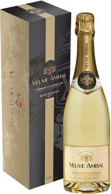 Вино игристое белое брют «Veuve Ambal Blanc de Blancs Brut Cremant de Bourgogne» в подарочной упаковке