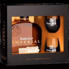 Ром «Barcelo Imperial» в подарочной упаковке с двумя стаканами