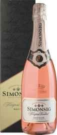 Вино игристое розовое брют                              «Simonsig Kaapse Vonkel Brut Rose» 2017 г. в подарочной упаковке