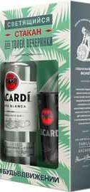 Ром «Bacardi Carta Blanca» в подарочной упаковке в комплекте со светящимся стаканом