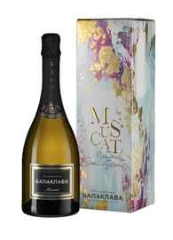 Вино игристое белое полусладкое «Balaklava Muscat» в подарочной упаковке