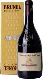 Вино красное сухое «Brunel de la Gardine Cotes du Rhone» 2018 г. в подарочной упаковке