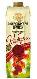 Вино столовое красное полусладкое «Монастырская трапеза Каберне (Тетра Пак)»