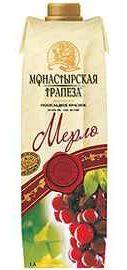 Вино столовое красное полусладкое «Монастырская трапеза Мерло (Тетра Пак)»