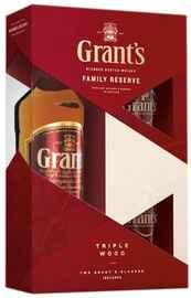 Виски шотландский «Grant's Family Reserve» +2 стакана, в подарочной упаковке