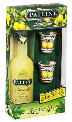 Ликер «Limoncello Pallini» в подарочной упаковке с 2-мя керамическими стаканами