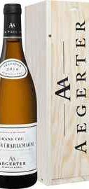 Вино белое сухое «Corton Charlemagne Grand Cru Aegerter» 2014 г. в деревянной подарочной упаковке